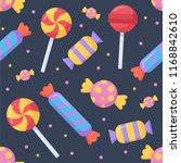 cute candy and lolipop seamless ... | Shutterstock .eps vector #1168842610