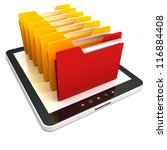 Tablet PC and colorful ofice folders on the screen - stock photo
