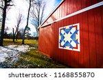 red barn quilt art farm | Shutterstock . vector #1168855870