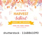 autumn harvest festival poster... | Shutterstock .eps vector #1168861090