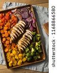 homemade keto sheet pan chicken ... | Shutterstock . vector #1168866580
