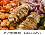 homemade keto sheet pan chicken ...   Shutterstock . vector #1168866979