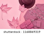 autumn lady outfit  maple leaf. ... | Shutterstock . vector #1168869319