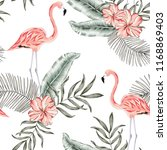 pink flamingo palm leaves ... | Shutterstock .eps vector #1168869403