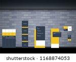 set signage.direction pole ... | Shutterstock .eps vector #1168874053