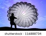 parashutist a parachute in the...   Shutterstock . vector #116888734