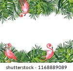 watercolor frame of tropical... | Shutterstock . vector #1168889089