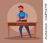 funny carpenter is working.... | Shutterstock .eps vector #1168916749