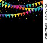 party background with flags and ... | Shutterstock .eps vector #1168929766