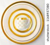golden dinner set  cookware set ... | Shutterstock . vector #1168937380