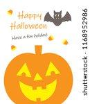 happy halloween greeting.. | Shutterstock . vector #1168952986