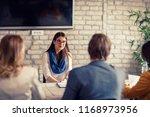 nervous girl on interview for... | Shutterstock . vector #1168973956