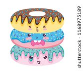 kawaii expression donuts sweet... | Shutterstock .eps vector #1168975189