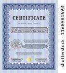 blue certificate template.... | Shutterstock .eps vector #1168981693