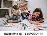 cute siblings drawing pictures...   Shutterstock . vector #1169000449