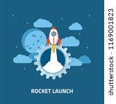 rocket launch  spaceship. flat... | Shutterstock .eps vector #1169001823