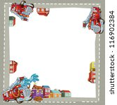 The fire truck in the city - border - illustration for the children - stock photo