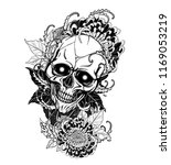 skull with chrysanthemum tattoo ...   Shutterstock .eps vector #1169053219