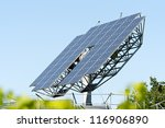 Solar Panels That Automatically Turns To The Sun - stock photo