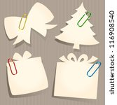 xmas elements old paper notes | Shutterstock .eps vector #116908540