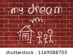 brick wall with children's... | Shutterstock . vector #1169088703