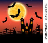 halloween night with castle and ... | Shutterstock .eps vector #1169101543