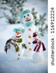 Snowman family - stock photo