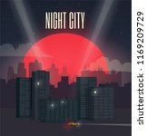 night city cityscape. red moon. ... | Shutterstock .eps vector #1169209729