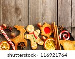 christmas homemade gingerbread... | Shutterstock . vector #116921764