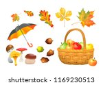 set of autumn objects.... | Shutterstock .eps vector #1169230513