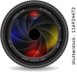 camera photo lens with shutter | Shutterstock .eps vector #116924473