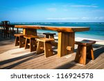 wooden cafe table and chairs on ... | Shutterstock . vector #116924578