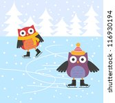 ice skating cute owls | Shutterstock .eps vector #116930194