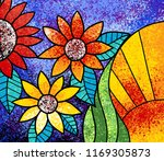 colorful flowers canvas digital ... | Shutterstock . vector #1169305873