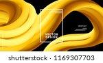 yellow wave liquid shapes. 3d... | Shutterstock .eps vector #1169307703