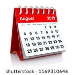 August 2019 Calendar. Isolated...