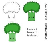 cartoon kawaii broccoli... | Shutterstock .eps vector #1169316799