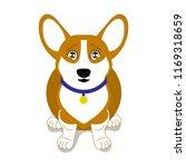 cute sad little corgi sits and... | Shutterstock .eps vector #1169318659