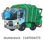 funny garbage truck car with... | Shutterstock .eps vector #1169326273