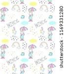 cute doodle bunny in rain... | Shutterstock .eps vector #1169331280