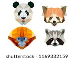 low poly animals panda raccoon  ... | Shutterstock .eps vector #1169332159