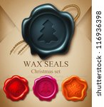wax seals. christmas set | Shutterstock .eps vector #116936398