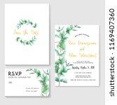 floral wedding invitation set ... | Shutterstock .eps vector #1169407360