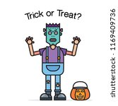 halloween card with funny... | Shutterstock .eps vector #1169409736