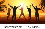 friends party on beach | Shutterstock . vector #116943460