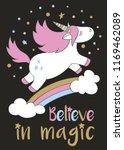 magic cute unicorn in cartoon... | Shutterstock .eps vector #1169462089
