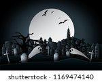 paper art work design halloween ... | Shutterstock .eps vector #1169474140
