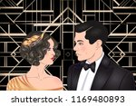 beautiful couple in art deco... | Shutterstock .eps vector #1169480893