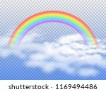 rainbow arc with white clouds... | Shutterstock . vector #1169494486