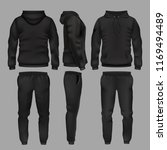 black man sportswear hoodie and ... | Shutterstock . vector #1169494489